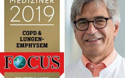 Focus-Siegel 2019 für Chefarzt Dr. med. Franz Stanzel als TOP-Mediziner COPD/Lungenemphysem