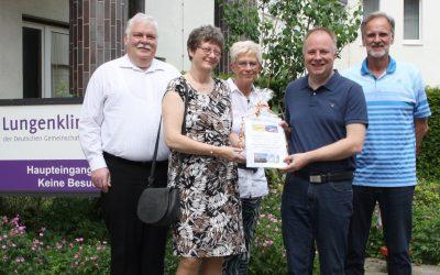 Juni 2019: Gewinnübergabe und Spende vom Tag der offenen Tür in der Lungenklinik Hemer